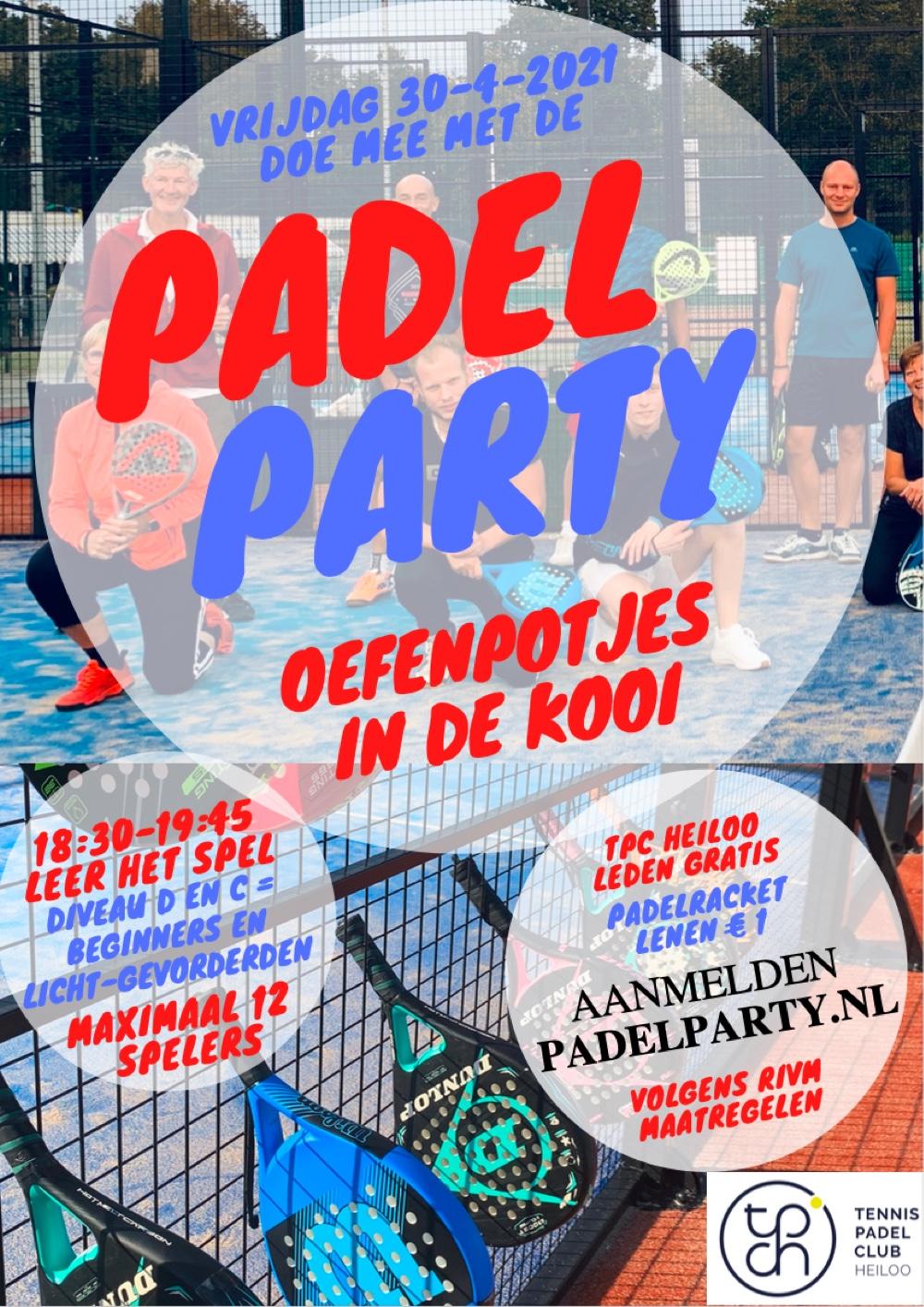 Flyer Padel Party 30 april 2021