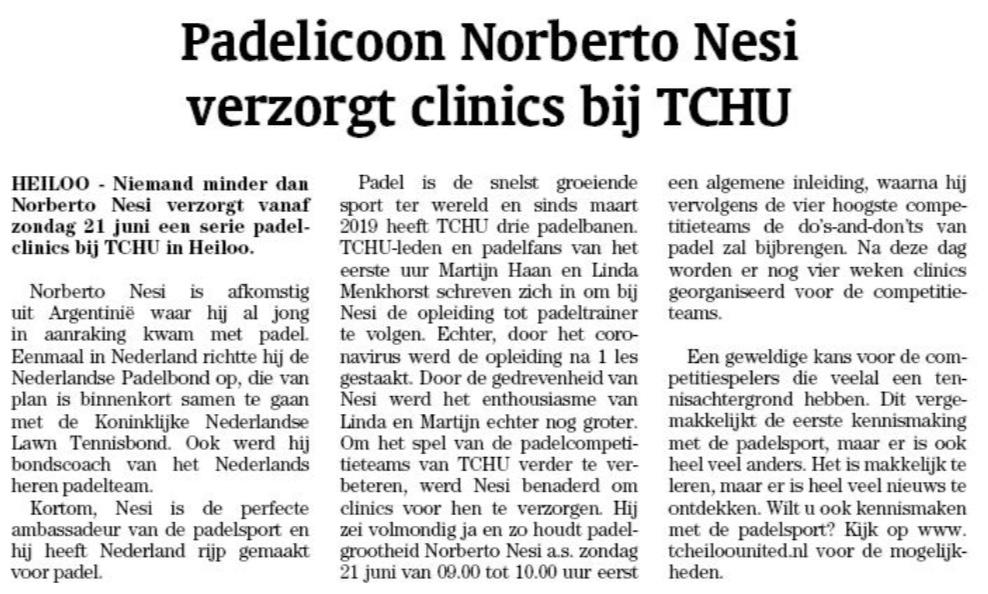Padel Competitie Clinics Norberto Nesi